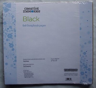Creative Memories 8x8 Black Scrapbook Pages - 12 sheets - BNIP