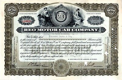 REO Motor Car Company of Lansing Michigan 1916 Stock Certificate #4826 excellent