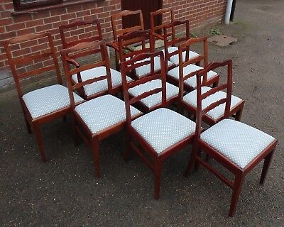 Set 10 George III antique style solid mahogany dining chairs including armchairs