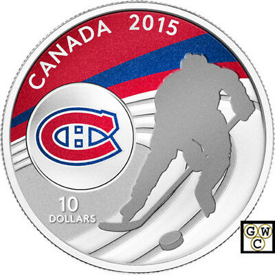 2015 'Montreal Canadiens - NHL' Color Prf $10 Fine Silver 1/2oz. Coin(14094)OOAK