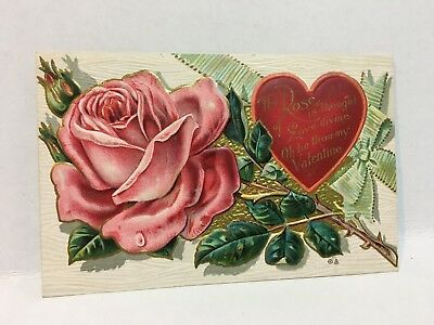 Antique Postcard Valentines Day Rose Heart Raised Gold Foil Tin Early 1909