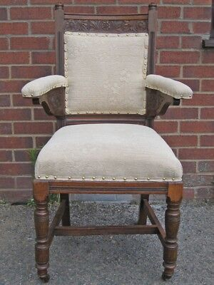 Victorian antique Arts & Crafts sunflower carved solid oak desk elbow armchair