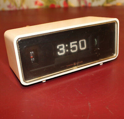 Vintage 70s GENERAL ELECTRIC Rolling Flip Alarm Clock White Model 8125 WORKING