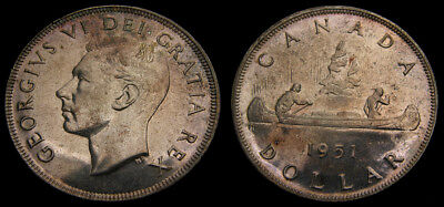 Canada 1951 King George VI Silver Dollar Toned UNC Short Water Line SWL