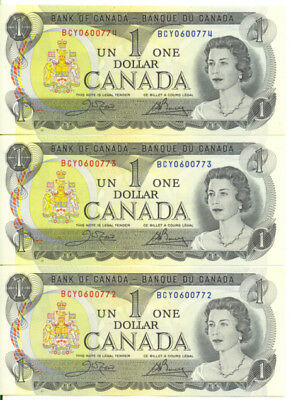 Bank of Canada 1973 $1 One Dollar Lot of 3 Consecutive Notes AU+/ UNC
