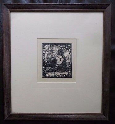 Frank Brangwyn, 1919 Bookplate Wood Engraving on Vellum for Estella Canziani