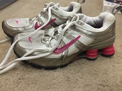 factory price d7568 59391 ... australia nike shox athletic running shoes white pink gray 316308 121 womens  size 6.5 e07a4 95d24