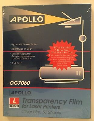 New Apollo Laser Jet Printer and Copier Transparency Film - 50 Sheets CG7060