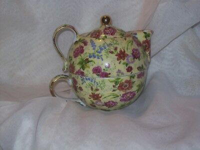 Yellow Chintz Tea For One (Teapot & Cup) By Formalities Baum Bros.