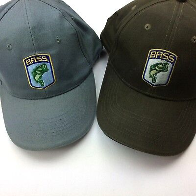 Set of 2 B.A.S.S. Bass Anglers Sportsman Society Caps Hats Gray/Blue Green/Camo