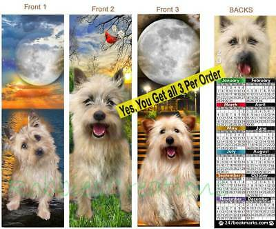 3 Set-Cairn Terrier 2019 CALENDAR BOOKMARK Dog Mix pups Terriers Card Great Gift