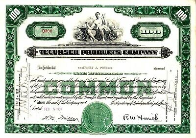 Tecumseh Products of MI 1930's Stock Certificate- Engines-Accessories- green