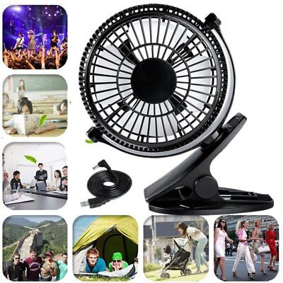 """5""""USB Clip-on Fan 360° Rotated Mini Portable Clamp Cooling Fan Fr Home Office BB"""
