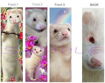 3-White FERRET BOOKMARK Pet Art Book Mark figurine Card Figurine Ornament-No Toy