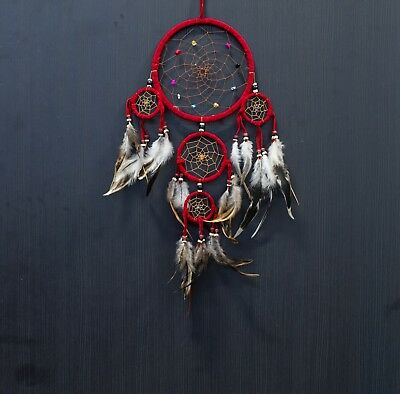 Dream Catcher Red Wall Hanging Decoration ornament bead feathers suede 18-22""