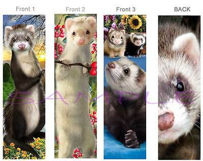 3 Lot-FERRET BOOKMARK Animal Pet Art Book Mark figurine Card Brown White-Not Toy