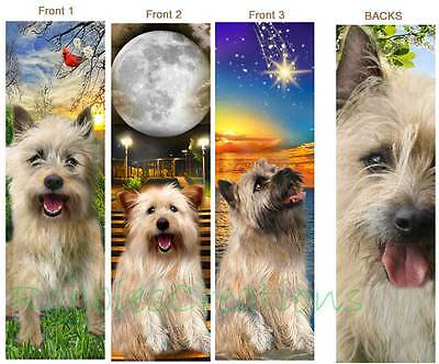 3set-CAIRN TERRIER BOOKMARK Dog Cream Wheaten Tan Red ART Book Mark Card Norwich