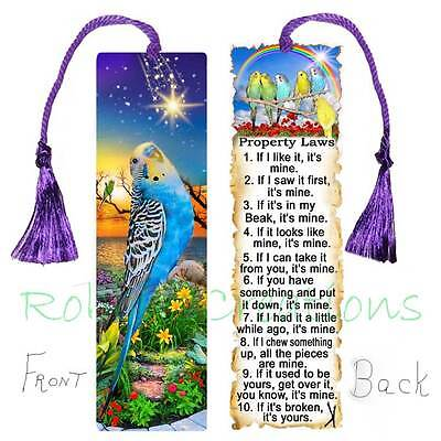 BUDGIE BOOKMARK w/TASSEL LARGE BLUE Parakeet Pet Bird Law Book Art CARD Figurine
