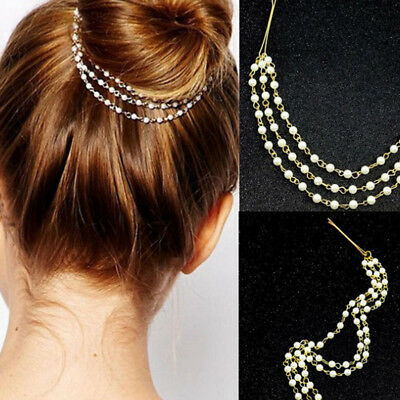 Women Girls Multilayer Tassels Pearl Chain Hairband Hairpin Barrette Hair Clip