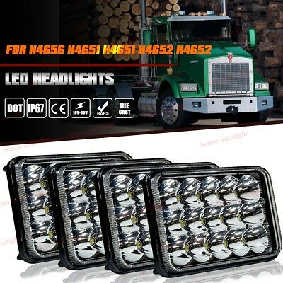 4pcs 4x6'' LED Headlights High/Low Beam for Kenworth T800 T400 T600 W900B W900L
