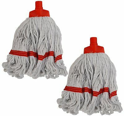 2 x Syr Freedom II Mini Looped Yarn Coloured Socket Mop Head Red 910211 A0-2