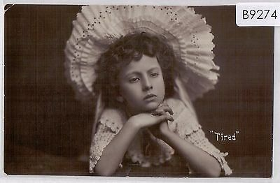 B9274cgt People Child Portrait 'Tired' Davidson vintage postcard