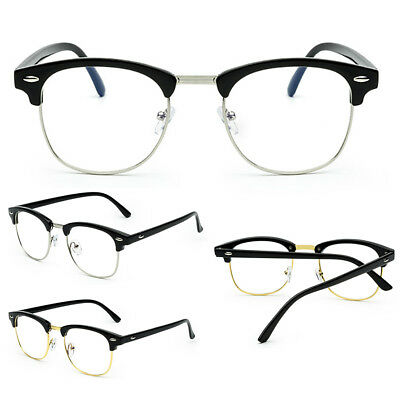 Fashion Clear Lens Glasses Vintage Half-Rim Men Women Oval Eyeglass Frames AU