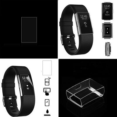 Ultrathin TPU Protective Clear Case Cover & Screen Protector For Fitbit Charge 2