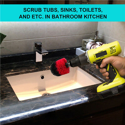 3Pcs/Set Tile Grout Power Scrubber Cleaning Drill Brush Tub Wall Cleaner Combo