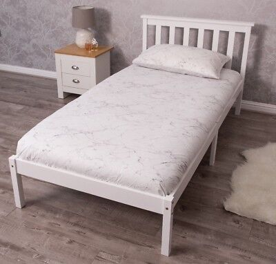 3ft Single Pine Wood/Wooden Bed Frame Bedroom White Honey With Optional Mattress