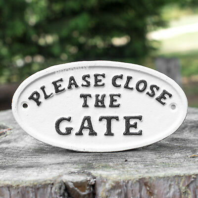 White Cast Iron Please Close Shut The Gate Wall Sign Outdoor Back Garden Plaque