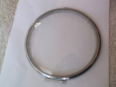 GLASS /CHROME RIM  FROM AN OLD SMITHS  MANTLE CLOCK  OUTER 6 1/4 inch diam