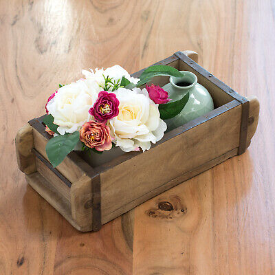 Vintage Wooden Brick Mould Rustic Wall Shelf Crate Shelving Storage Display Box