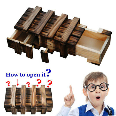 Compartment Wooden Puzzle Box +Secret Drawer Brain Teaser Educational Toy Gift