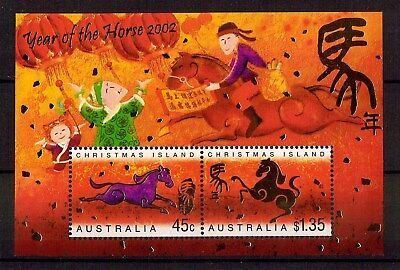 M1276sbs 2002 Australia Christmas Island Year of Horse MUH Mini Sheet stamp