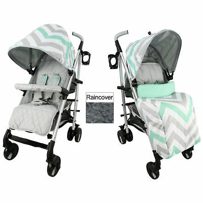 New My Babiie Mint Chevron Mb51 Pushchair Compact Stroller With Raincover