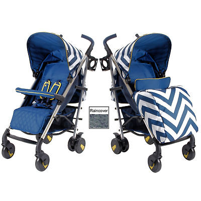 New My Babiie Blue Chevron Mb51 Pushchair Compact Stroller With Raincover