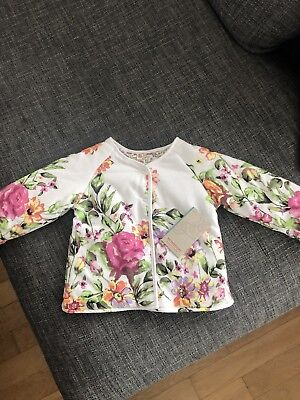 Bnwt Monsoon Floral Reversible Top Cardigan Jumper Baby Girls Size 9-12 Months