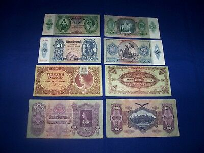 Set of 4 Different Bank Notes from Hungary
