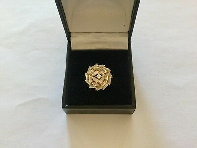 Beautiful Gold on Sterling Silver Cluster Statement Ring - Size M