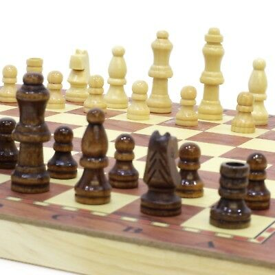 3 in 1 ♞ Hand Crafted Wooden Chess Draughts Set 24cm x 24cm ♚ Travel Board