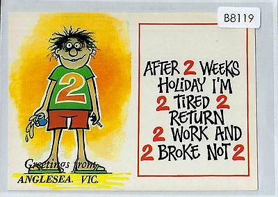 B8119cgt Australia Humour 2 Tired 2 Return 2 Wrok Angelsea Greetings postcard