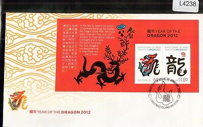 L4238sbs Christmas Island 2012 Year of Dragon Mini Sheet FDC