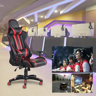 Gaming Chair High Back Ergonomic Racing PU Leather Computer Footrest Office SW