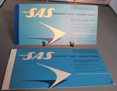 2-1965 SAS Scandinavian Airlines System Ticket Booklets, Baggage Check,Trip Book