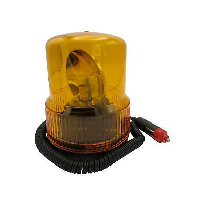 12v 8w Amber Magnetic Warning Light Plug In - Revolving Beacon Recovery Flashing