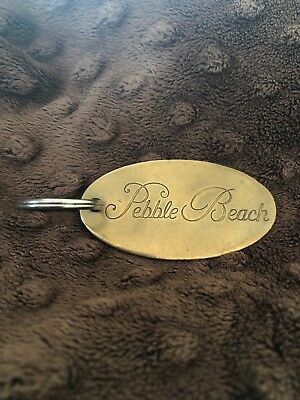 Vintage Pebble Beach Brass Engraved key Ring Or Key Fob Free Shipping