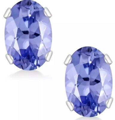 Oval Tanzanite 925 Sterling Silver Stud Earrings 6X4mm 1 Ct Total Weight