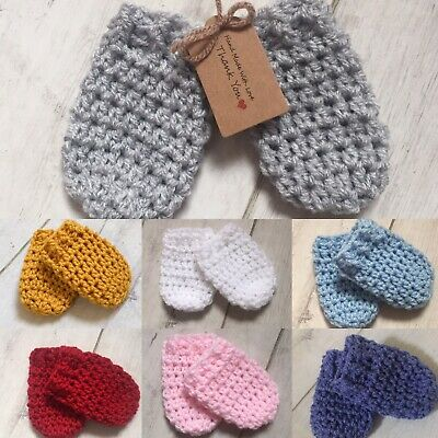 Handmade Crocheted/Knitted  Boys/Girls Mittens 0-3/3-6 Months. Various Colours