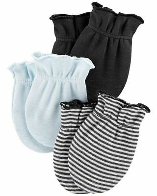New Carter's 3 Pack Baby Mittens size 0-3 months NWT 100% Cotton Boys Blue Gray